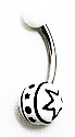 Body Jewelry - White Belly Ring with Black Stars (14g) - Navel Ring (1pc)