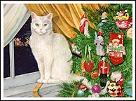 white cat, christmas tree, santa