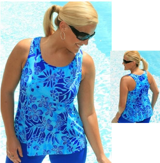"1608-56 ""Fluorescent Garden"" Princess Seam Tankini Top"