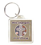 """THIS CHANGES EVERYTHING"" ACRYLIC KEYRING WITH CROSS"