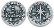 O COME LET US ADORE HIM PEWTER POCKET TOKEN