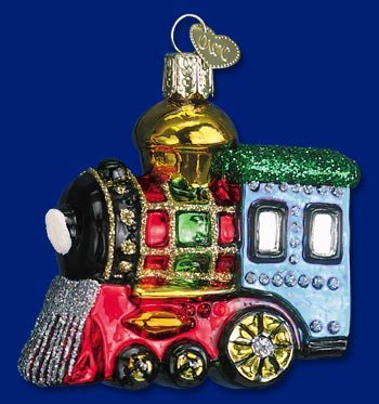 Old World Christmas Glass Ornament - Small Locomotive