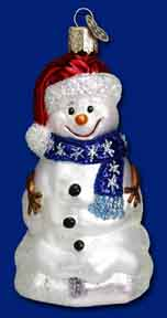 "Old World Christmas Glass Ornament  - ""Happy Snowman"""