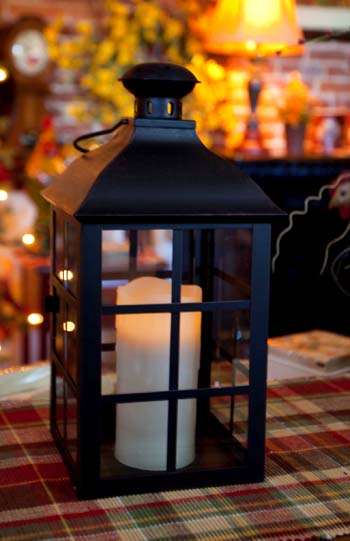 Candle Lantern Holder - Rustic Black Lantern - 14in