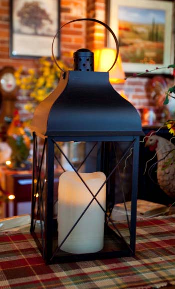 Candle Lantern Holder - Rustic Black Lantern - 16in