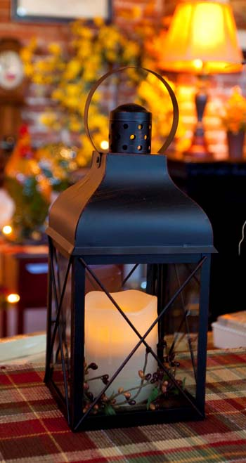 Candle Lantern Holder - Rustic Black Lantern - 12in