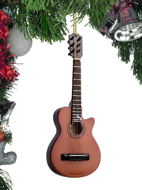 Music Instrument Ornament - Brown String Guitar with Cut Away