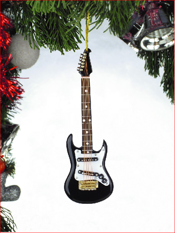 Music Instrument Ornament - Black Electric Guitar Ornament