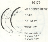 Mercedes 180, 180A, 180D, 220S, 220SE, 220B - Rear Brake Shoes