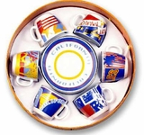 CALIFORNIA Espresso Demitasse Set of  6 Cups/Saucers