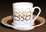 Espresso Design Cups, Set of 6 Cups/Saucers