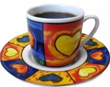 Heart Pattern Espresso Cup/Saucer - set of 6