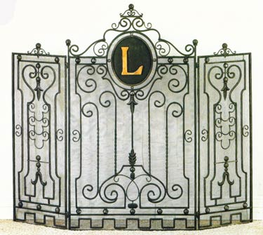 Monogram initial fireplace screen includes Italian gold iron 5 inch monogram. Functional