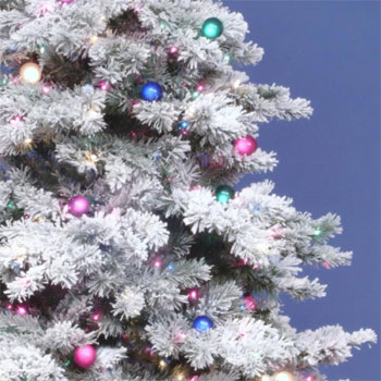 - Vickerman Prelit Flocked Alaskan Tree With Multicolor Lights