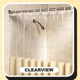 Mildew Resistant Shower Curtain With Clear Top