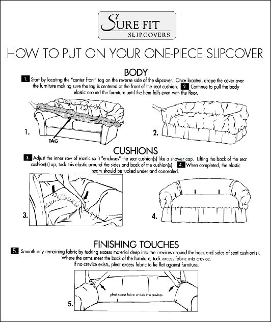 How to Put on 1 Piece Slipcovers with Elasticized Skirt