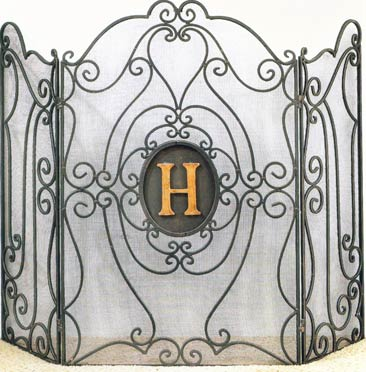 Monogram Fire Screen includes Italian gold iron 5 inch monogram. Functional