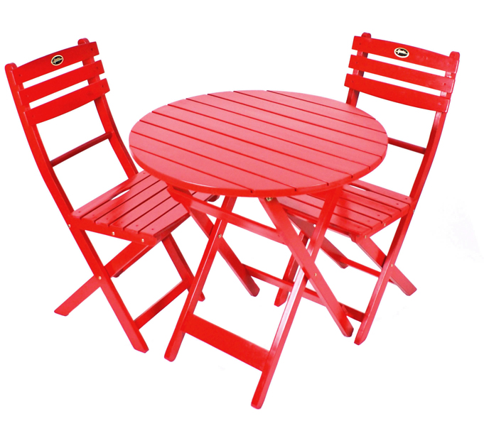 Red Bistro Table and Chair Set