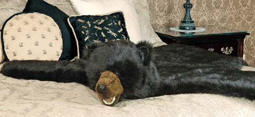 Faux Fur Black Bear Rug With Head