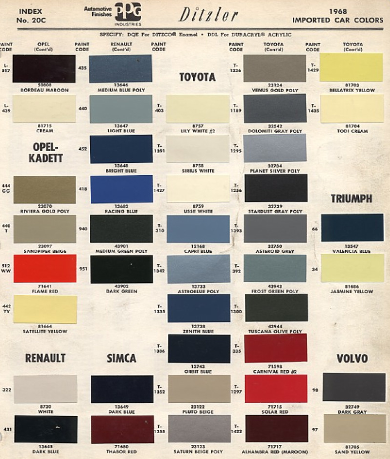 toyota color code book sheets for 1968 to 1969 page 2 - Color Code Book