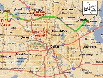 Click to Enlarge See Cool Cruisers and Airports on Dallas Area Map