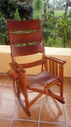 Costa Rica Rocking Chair - High Back - Natural Leather and Caobilla Wood