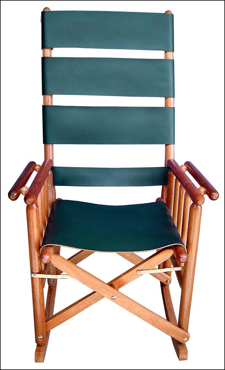 Costa Rica Rocking Chair High Back Green Leather And