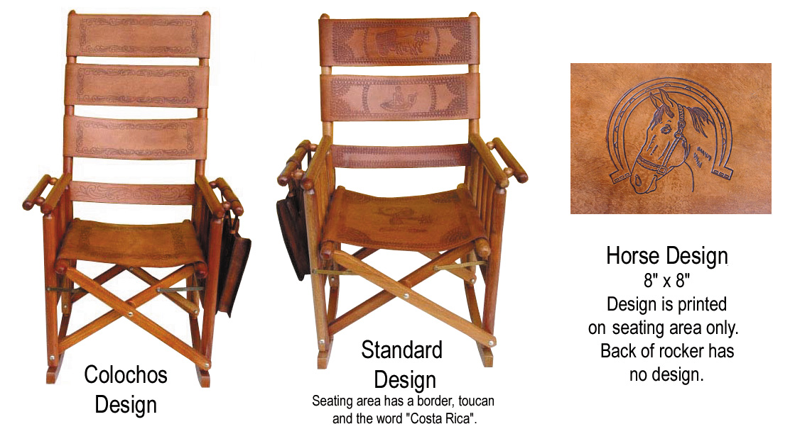 costa rica rocking chair high back green leather and caobilla wood