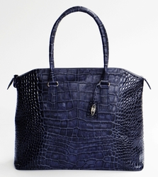 J. Lang Coco Tote Blue Crocodile Leather