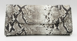 J. Lang Curve Clutch Black & White Python Leather