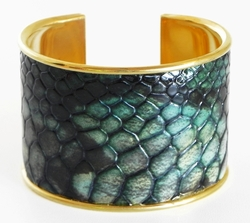 J. Lang Cuff Bracelet Green Snake Leather