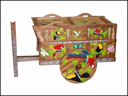 Cart Bar with Toucans & Macaws - 36""