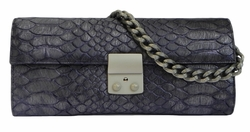 J. Lang Secret Code Clutch Purple Crocodile Leather