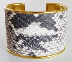 J. Lang Cuff Bracelet Black & White Python Leather