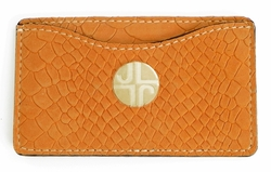 J. Lang Card Holder Orange Snake Leather