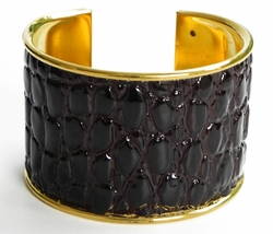 J. Lang Cuff Bracelet Brown Crocodile Leather