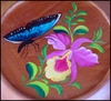 Hand Painted Wood Dish - 8.5""