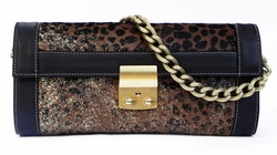 J. Lang Secret Code Clutch Jaguar Hair Leather
