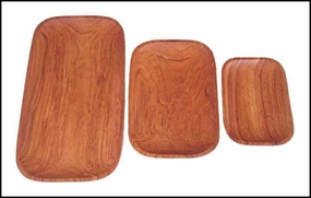 Wood Rectangular Trays-Set