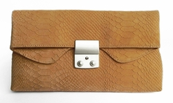 J. Lang Disco Clutch Taupe Snake Leather