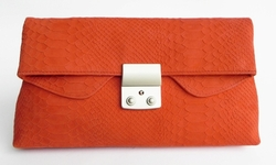 J. Lang Disco Clutch Coral Snake Leather