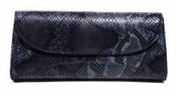 J. Lang Curve Clutch Black & Grey Snake Leather