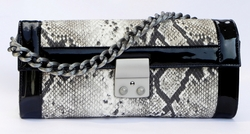 J. Lang Secret Code Clutch Black & White Python Leather