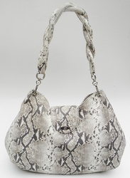 J. Lang Twister Hobo White & Black Python Leather