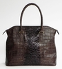 J. Lang Coco Tote Brown Crocodile Leather