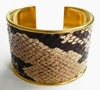 J. Lang Cuff Bracelet Brown & Beige Python Leather