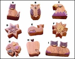 Puzzle Wood Box - Assorted Items