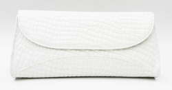J. Lang Curve Clutch White Patent Leather