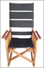 Costa Rica Rocking Chair - High Back - Black Leather and Caobilla Wood