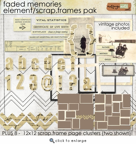 Faded Memories Element / Scrap.Frame Pak